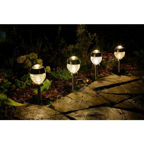 4er-Set  Solithia Solarleuchte Blüte mit Glas Top Midi  3WS- 07321