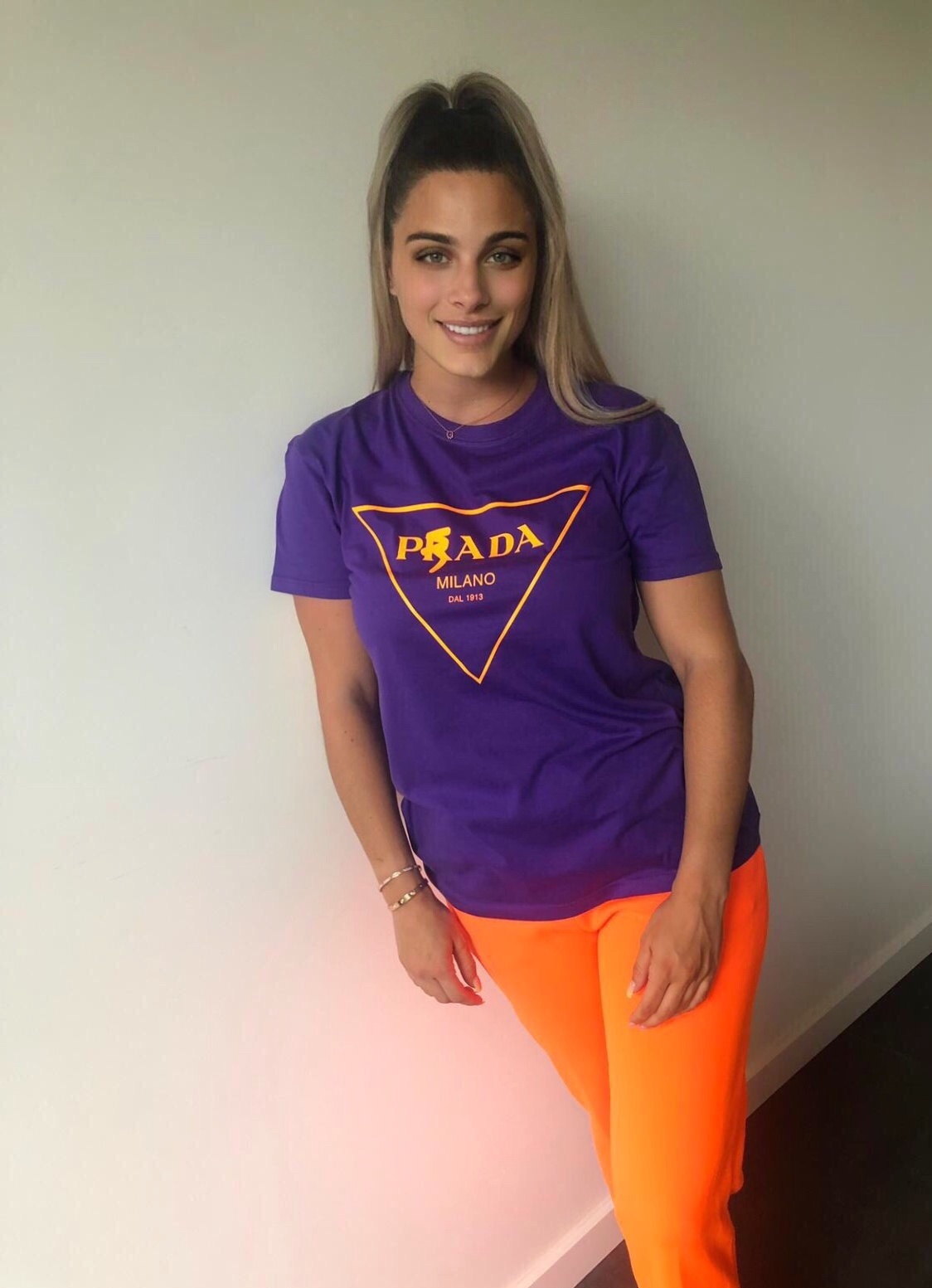 Milano tee Purple neon orange
