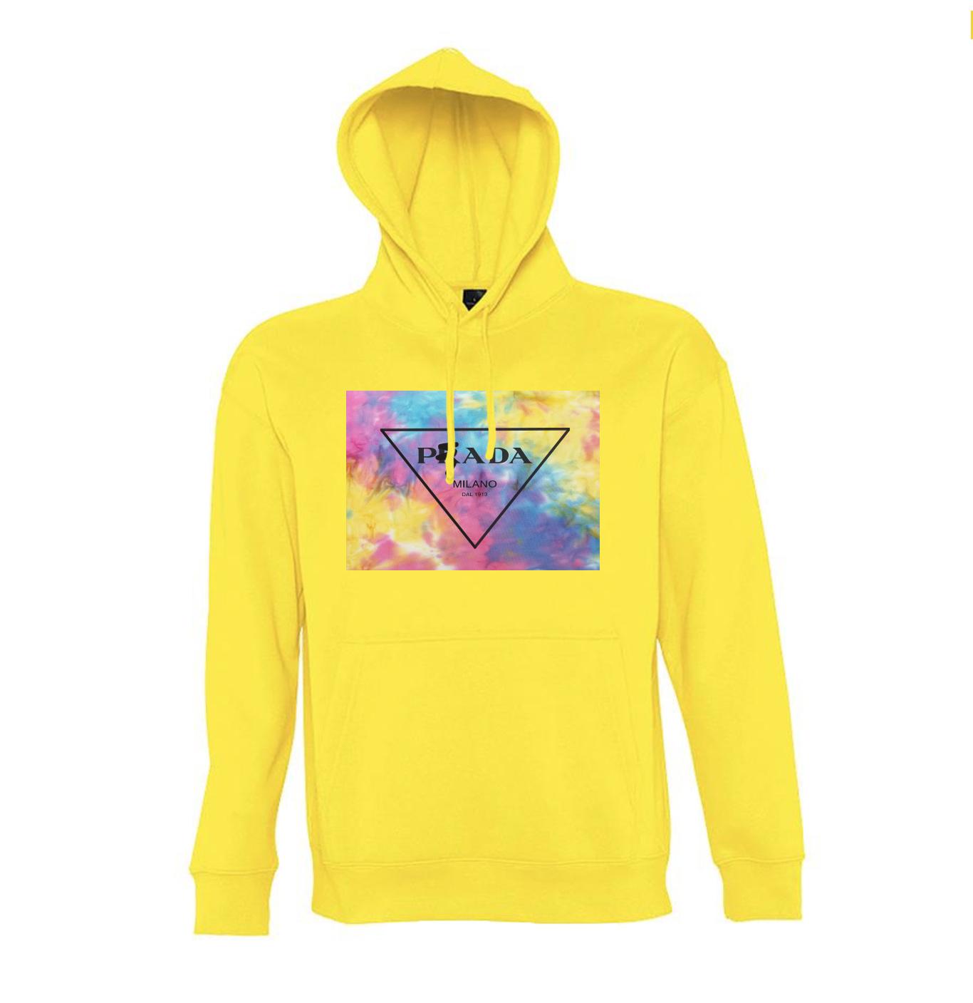 tie dye yellow hood