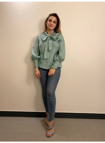 Mint Blauwe blouse met strik