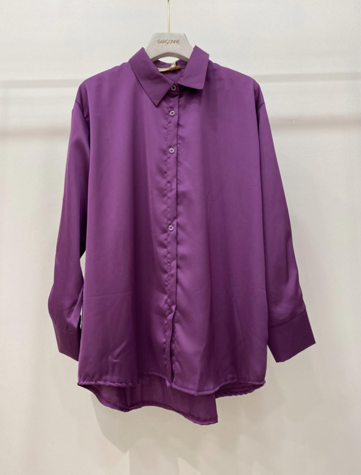 satijnen blouse paars