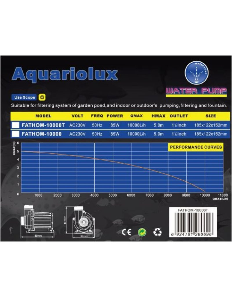 Aquariolux Fathom 10000 & 10000T 85 watt eco pond pumps