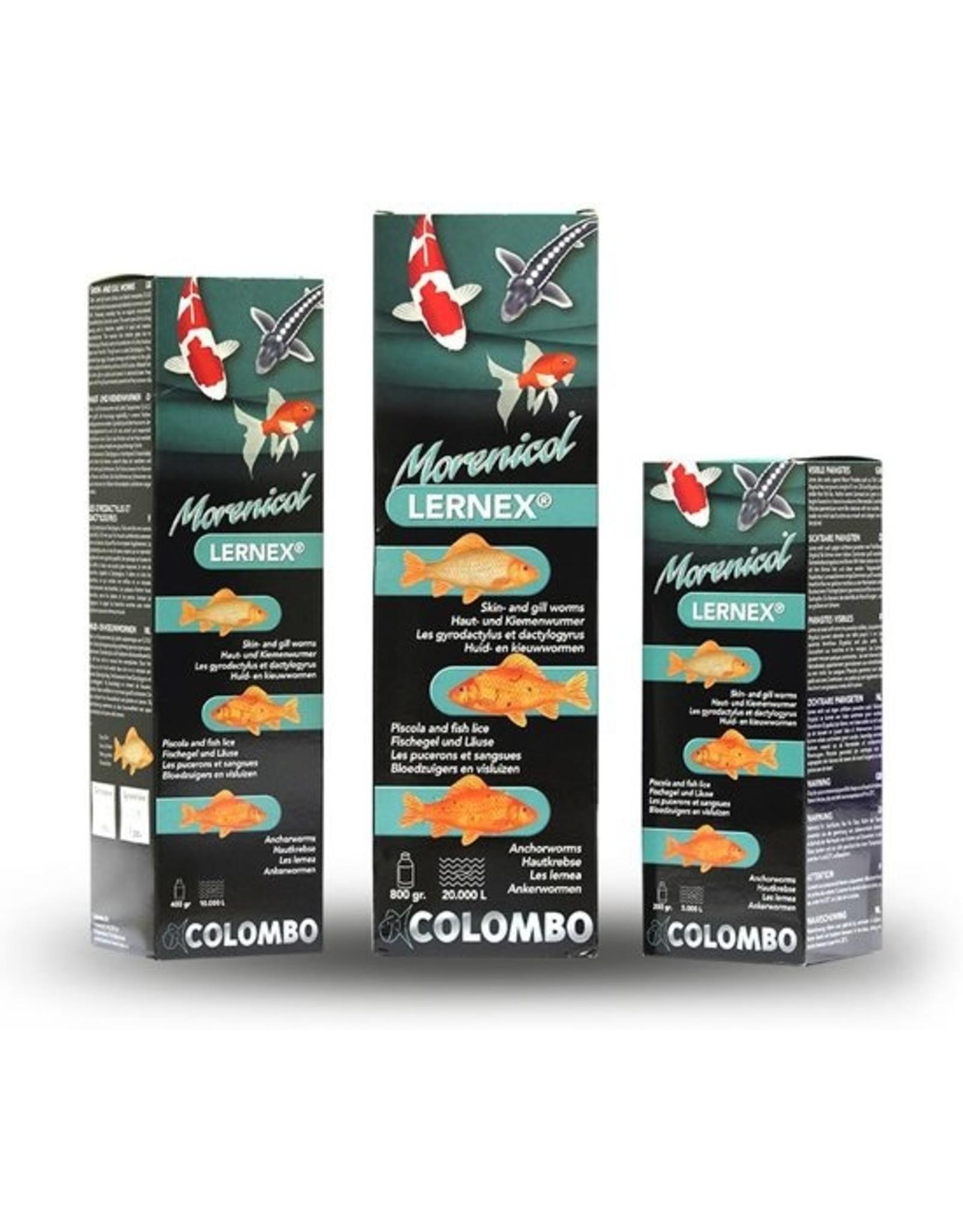 Colombo Morenicol Lernex is werkzaam tegen huid en kieuwwormen, inwendige wormen, bloedzuigers, visluizen en ankerwormen.