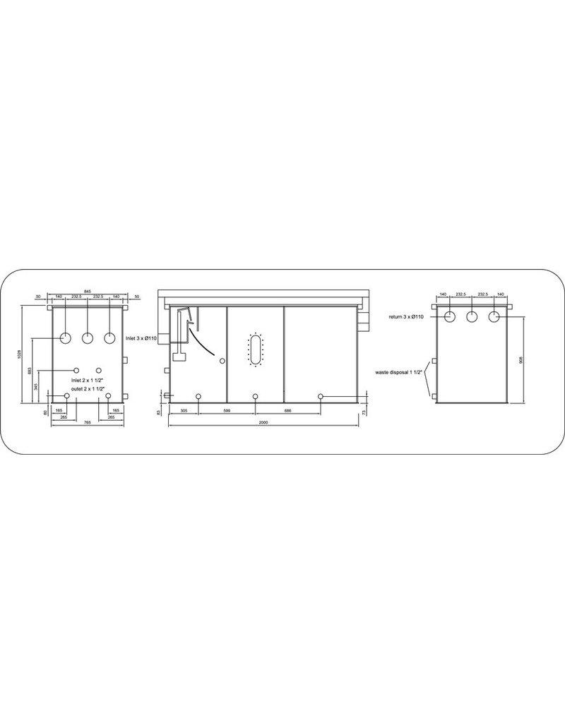 Filtreco 3 Kammer Umzug Bed Gravity Sieve Large