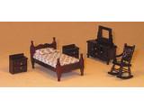 Euromini's EM9955/M 5-delige slaapkamerset mahonie. 1:24