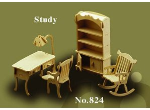 Woodcraft Poppenhuis meubels Studeerkamer