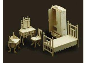 Woodscraft Poppenhuis meubels slaapkamer