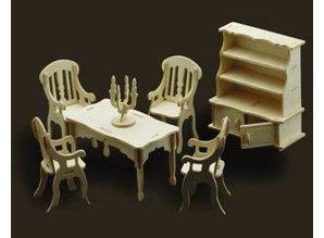 Woodcraft Poppenhuis meubels Eetkamer