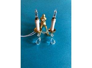 Euromini's Kristallen wandlamp 2-armig