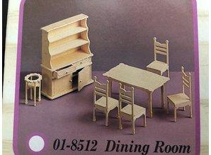 Wood Craft Poppenhuis meubeltjes eetkamer