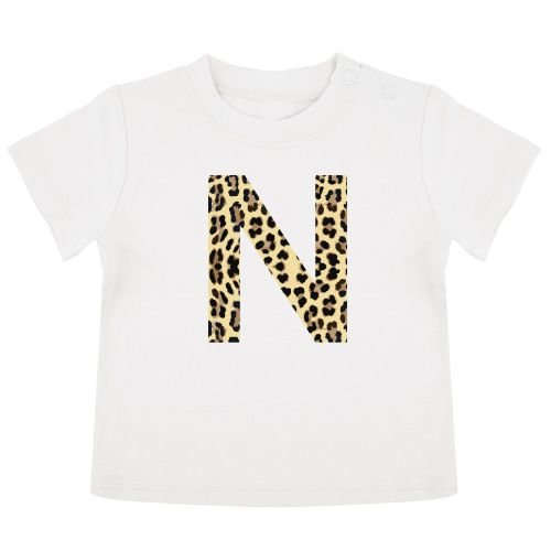 KIDZ DISTRICT LEOPARD INITIAL BABY T-SHIRT (GEPERSONALISEERD)