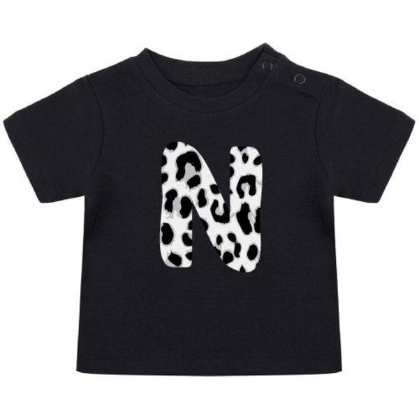 GREY LEOPARD INITIAL BABY T-SHIRT (GEPERSONALISEERD)