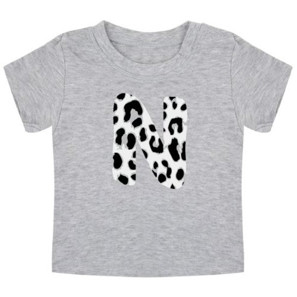 GREY LEOPARD INITIAL BABY T-SHIRT