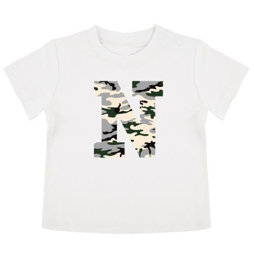 KIDZ DISTRICT CAMO INITIAL BABY T-SHIRT (GEPERSONALISEERD)
