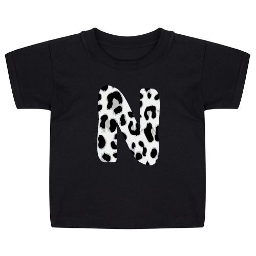 KIDZ DISTRICT GREY LEOPARD INITIAL KIDS T-SHIRT (GEPERSONALISEERD)
