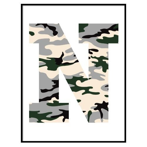 KIDZ DISTRICT CAMO INITIAL POSTER (GEPERSONALISEERD)
