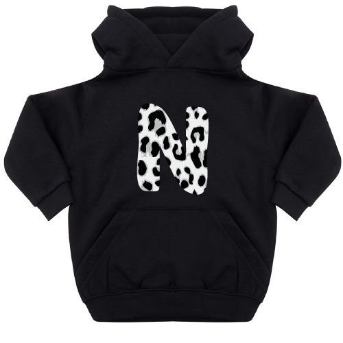 KIDZ DISTRICT GREY LEOPARD INITIAL KIDS HOODIE (GEPERSONALISEERD)