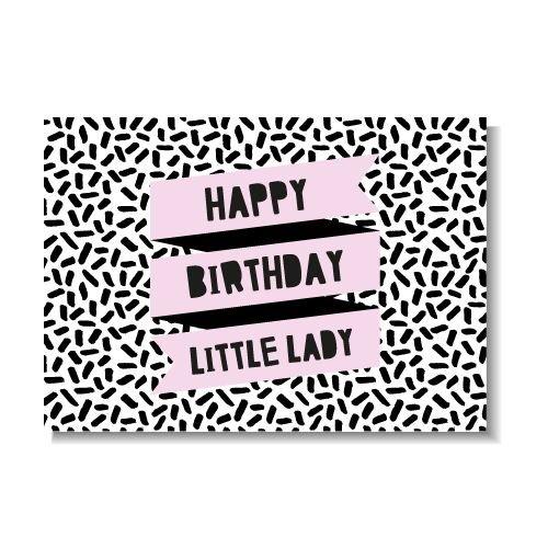 KIDZ DISTRICT HAPPY BIRTHDAY LITTLE LADY KAART