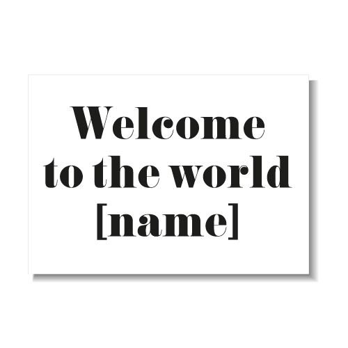 KIDZ DISTRICT WELCOME TO THE WORLD KAART (GEPERSONALISEERD)