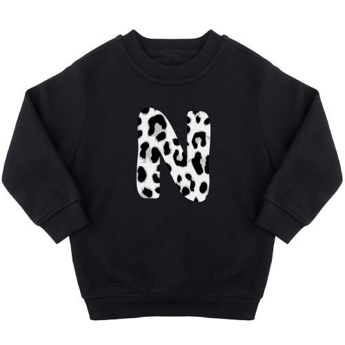 KIDZ DISTRICT GREY LEOPARD INITIAL SWEATER (GEPERSONALISEERD)