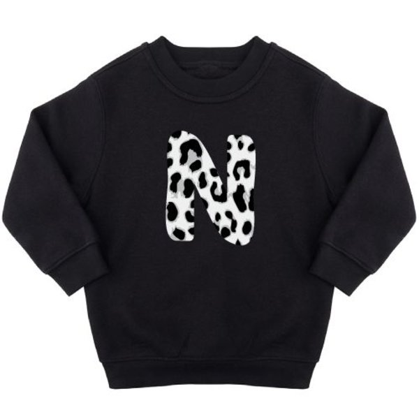 GREY LEOPARD INITIAL SWEATER (GEPERSONALISEERD)