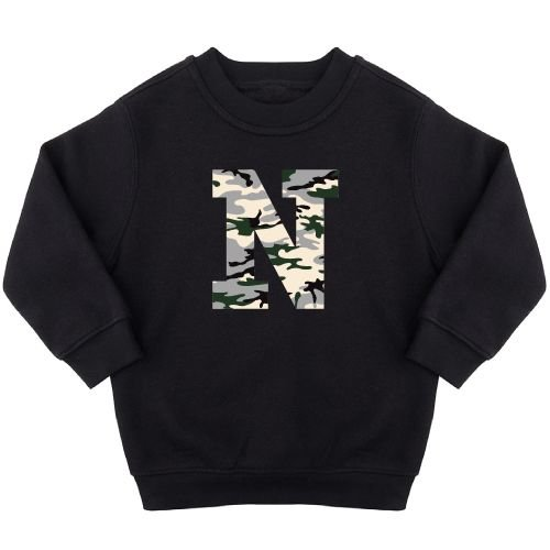 KIDZ DISTRICT CAMO LEOPARD INITIAL SWEATER (GEPERSONALISEERD)
