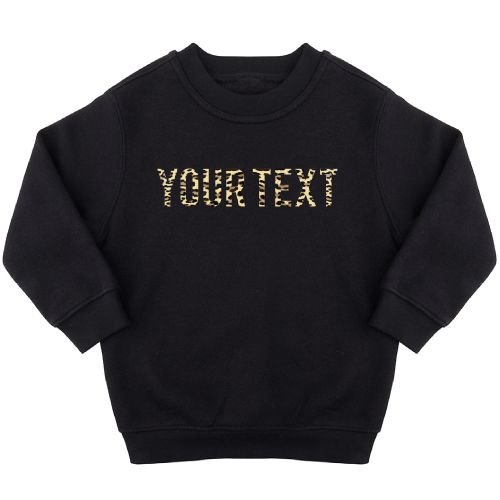 KIDZ DISTRICT LEOPARD TEXT SWEATER (GEPERSONALISEERD)