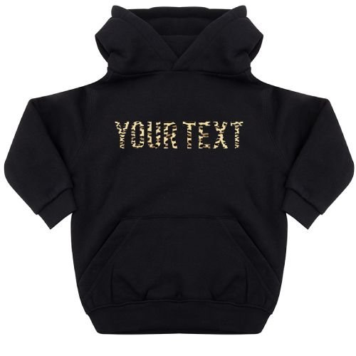 KIDZ DISTRICT LEOPARD TEXT KIDS HOODIE (GEPERSONALISEERD)