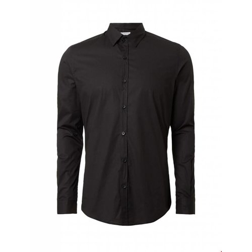 Purewhite Purewhite LS Shirt Black Slim Fit