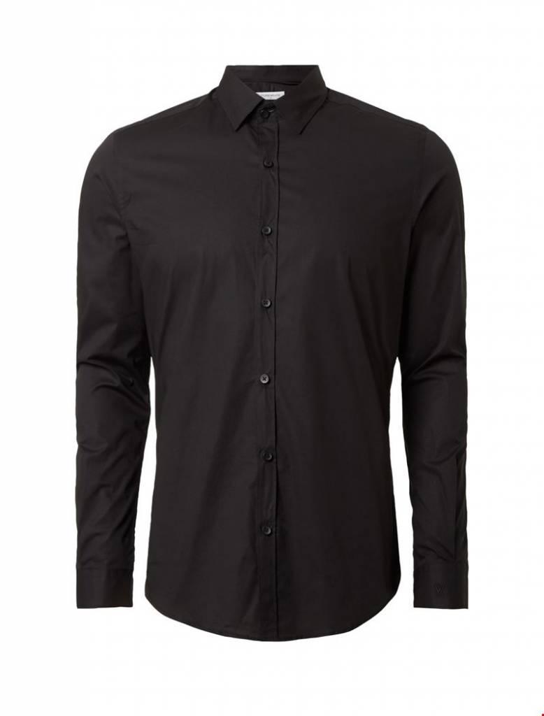 Purewhite Purewhite LS Shirt Black Slim Fit
