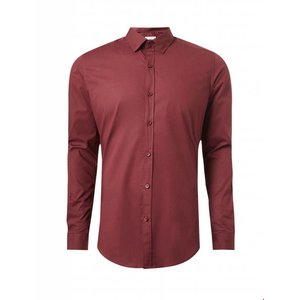 Purewhite Purewhite LS Shirt Bordeaux Slim Fit