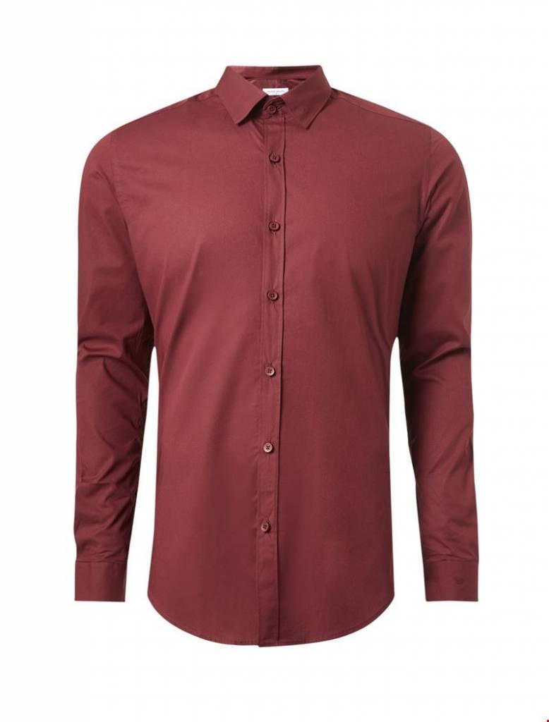 Purewhite Purewhite LS Shirt Bordeaux Slim Fit