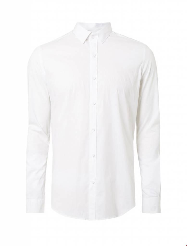 Purewhite Purewhite LS Shirt White Slim fit