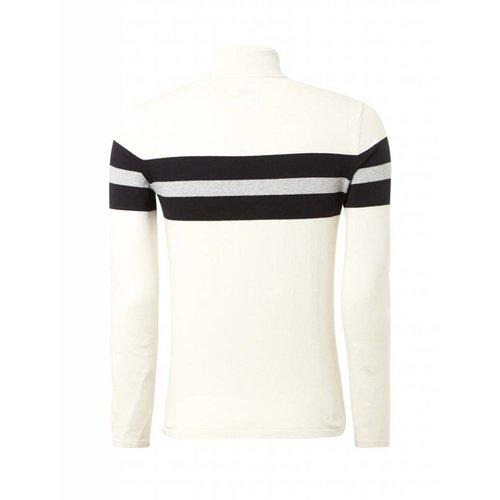 Purewhite Purewhite Striped Turtleneck Off White