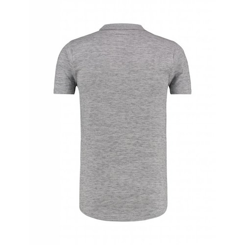 Purewhite Purewhite Knitted Longfit Polo Grey
