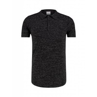 Purewhite Knitted Longfit Polo Black Melee