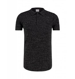 Purewhite Purewhite Knitted Longfit Polo Black Melee