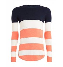 Purewhite Purewhite Knitted Striped Crewneck Coral