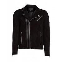 Purewhite Suede Biker Jacket Black