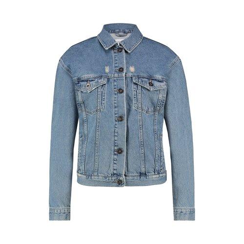 Purewhite Denim Jacket Blue Neon