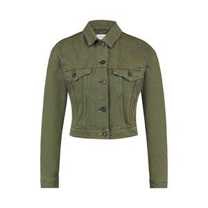 Purewhite Denim Jacket Army Green Neon