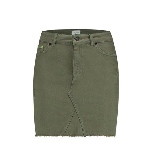 Purewhite Denim Skirt Army Green