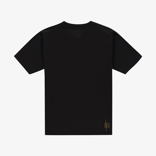"""JORIK Don't smoke  JORIK's black cotton """"Cigarettes"""" T-shirt has a relaxed fit and a picture of cigarettes in that same pattern as the lines representing the brand logo on the back."""