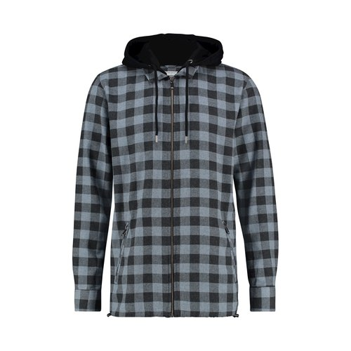 Purewhite CHECK HOODED ZIP SHIRT
