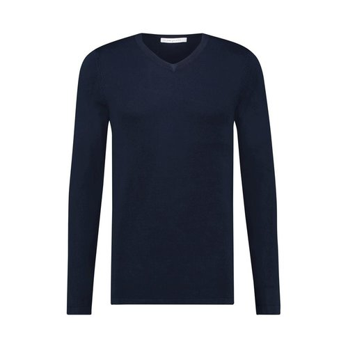 Purewhite Essential Knitted Long Sleeve V-Neck Navy