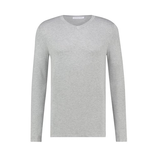Purewhite Essential Knitted Long Sleeve V-Neck Grey