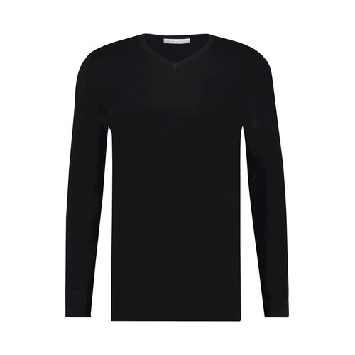 Purewhite Essential Knitted Long Sleeve V-Neck Black