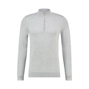 Purewhite ESSENTIAL KNITTED HALF ZIP JUMPER GREY