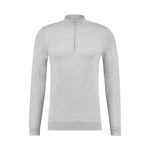 Purewhite Essential Knitted Half Zip Jumper Grey