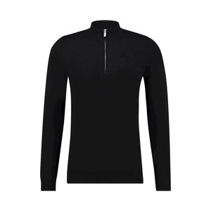 Purewhite ESSENTIAL KNITTED HALF ZIP JUMPER BLACK